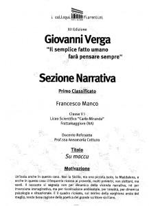 Premio Verga per Francesco Manco